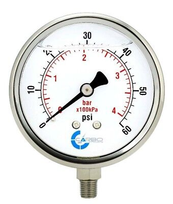 "4"" Pressure Gauge, Stainless Steel Case, Liquid Filled, Lower Mnt 60 PSI"