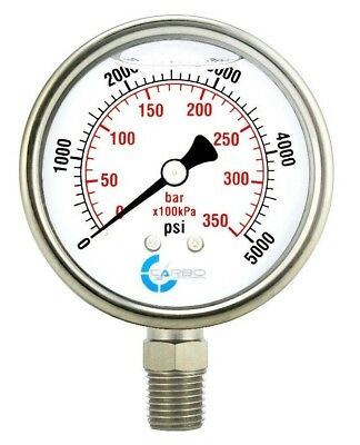 "2-1/2"" Pressure Gauge, Stainless Steel Case, Liquid Filled, Lower Mnt 5000 PSI"