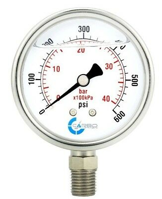 "2-1/2"" Pressure Gauge, Stainless Steel Case, Liquid Filled, Lower Mnt 600 PSI"