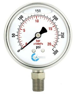 "2-1/2"" Pressure Gauge, Stainless Steel Case, Liquid Filled, Lower Mnt 300 PSI"