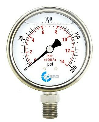 "2-1/2"" Pressure Gauge, Stainless Steel Case, Liquid Filled, Lower Mnt 200 PSI"