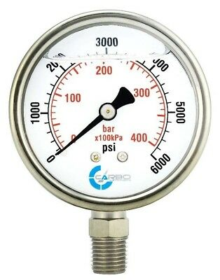 "2-1/2"" Pressure Gauge, Stainless Steel Case, Liquid Filled, Lower Mnt 6000 PSI"