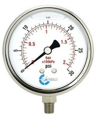 "4"" Pressure Gauge, Stainless Steel Case, Liquid Filled, Lower Mnt 30 PSI"