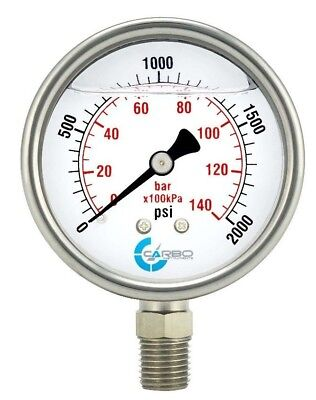 "2-1/2"" Pressure Gauge, Stainless Steel Case, Liquid Filled, Lower Mnt 2000 PSI"