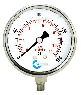 "4"" Pressure Gauge, Stainless Steel Case, Liquid Filled, Lower Mnt 160 PSI"