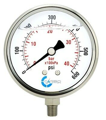 "4"" Pressure Gauge, Stainless Steel Case, Liquid Filled, Lower Mnt 600 PSI"