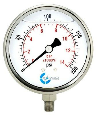"4"" Pressure Gauge, Stainless Steel Case, Liquid Filled, Lower Mnt 200 PSI"