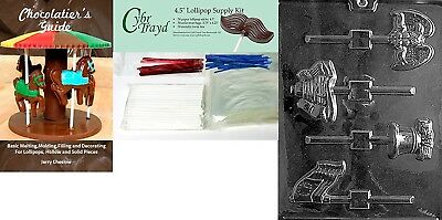 """(+50 Stx/Bags/Bk) - Cybrtrayd """"USA Lolly"""" Chocolate Mould with Chocolatier's"""