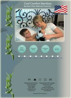 Mattress Protector made with Bamboo - Twin. Cool Comfort Bamboo. Brand New