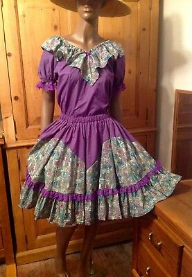 Vintage Square Dance Outfit 2 Pc CROSS EYED CRICKET Size 6 8 M Purple Green