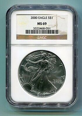 2000 American Silver Eagle Ngc Ms69 Brown Label Premium Quality Nice Coin Pq