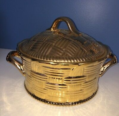 HALL CHINA CO. FOR GUMP'S GOLD CASSEROLE Covered /NEW