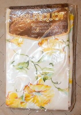 NEW Vintage Pair of Pequot Spring Mills Standard Pillowcases Floral