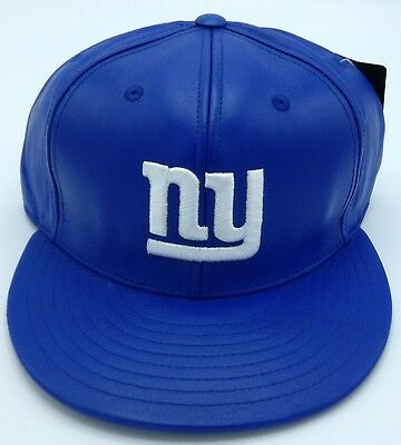 8fa7a11aadf NFL New York Giants Reebok Adult Leather Structured Fitted Flat Brim Cap Hat  NEW