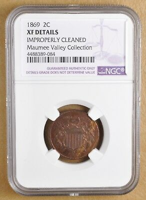1869 Two Cent Piece NGC XF Details