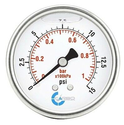 "2-1/2"" Pressure Gauge, Stainless Steel Case, Liquid Filled, Back Mnt 0-15 PSI"