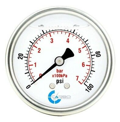 "2-1/2"" Pressure Gauge, Stainless Steel Case, Liquid Filled, Back Mnt 0-100 PSI"