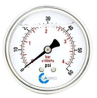 "2-1/2"" Pressure Gauge, Stainless Steel Case, Liquid Filled, Back Mnt 0-60 PSI"