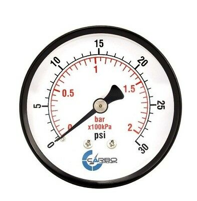 "2-1/2"" Pressure Gauge - Black Steel Case, 1/4""NPT, Back Mnt. 0-30 PSI"