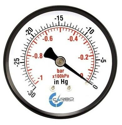 "2-1/2"" Vacuum Pressure Gauge - Black Steel Case, 1/4""NPT, Back Mnt -30Hg/0"