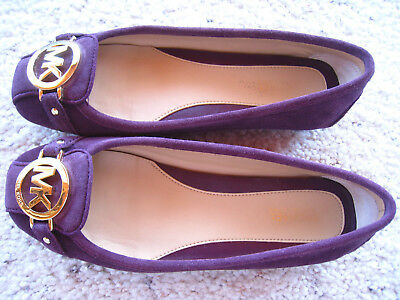 bf2ca5877aeff MICHAEL Kors MK Logo Fulton Moccasin PLUM Purple Suede Ballet Flats 6M  REDUCED!