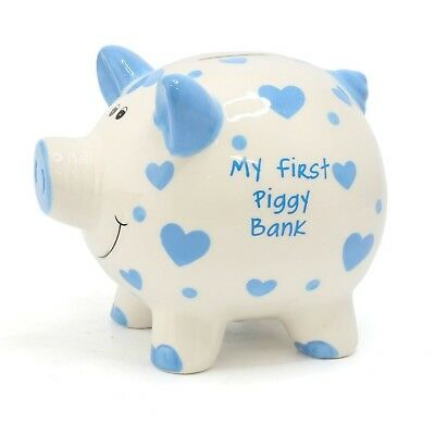 My First Piggy Bank Large White Pig With Blue Or Pink Hearts Money