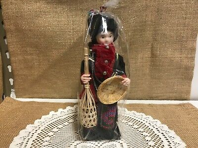 "New In The Package 8"" Tall Yao or Mien Ceramic Doll from Thailand"