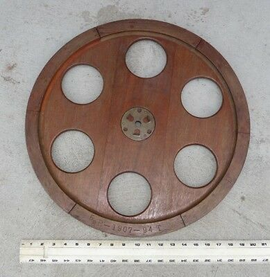 """Vintage Wooden  Foundry Mold Wheel 20"""" Industrial Steampunk Wood Marked """"1907"""""""