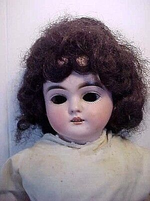 "18"" High Antique Doll with German Bisque Head & Leather body"