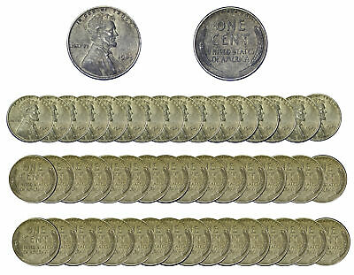 1943 Lincoln Wheat Cent Mixed  Steel Pennies of 50 US Coins - XF Condition ( SP