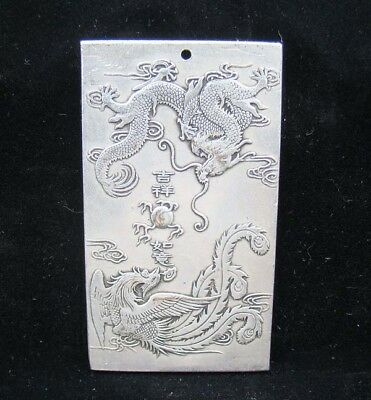 Collectable Handmade Carved Statue Tibet Silver Amulet Pendant Dragon Phoenix