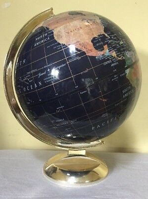 "12"" World Globe On Stand Blue/Black EXC"