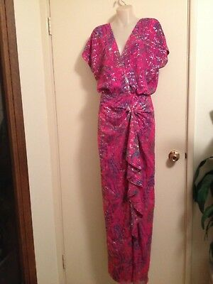 GORGEOUS VINTAGE VIRGOSLOUNGE EVENING GOWN 8 (see meas)RED-PINK/SILVER -LIKE NEW