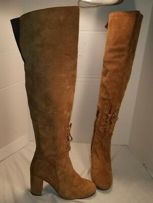 88b102bc826 Anthropologie Elysess Brown Suede Over The Knee Tall City Boho Boots 36.
