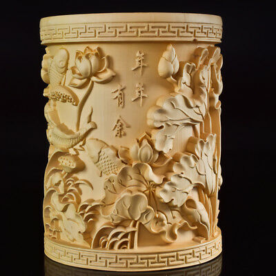 Chinese Boxwood Hand Carved Fish & Lotus Exquisite Brush Pot RB008@