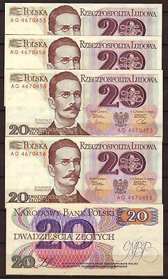 POLAND  20 Zlotych  1982   5 consecutive notes   Gem UNC