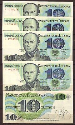 POLAND  10 Zlotych  1982   5 notes    Gem UNC