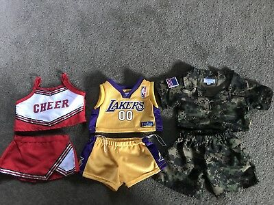 Build A Bear outFits , Pick One , Lakers basket Ball, Cheer Leader Or Army