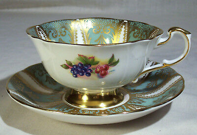 Vintage Paragon Cup And Saucer Green Gold Fruit Motif Cherries Grapes Peaches