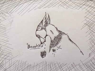 What Is Beauty? Weeping Cat. FREE POST Paige Valentino Art Original A4 Drawing