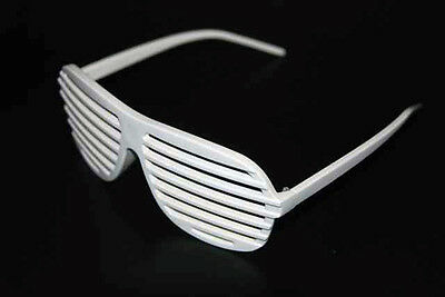Full Shutter Glasses Shades Sunglasses Club Party White 80s shuttershades