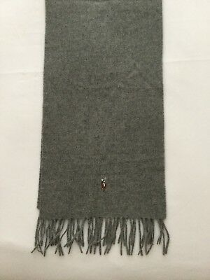 Geniune Polo Ralph Lauren Grey Wool Scarf - As New