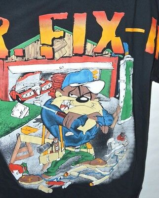 Looney Tunes VTG 90s T-shirt TAZ Mr Fix It Mens XL 1997 Tasmanian Devil WB