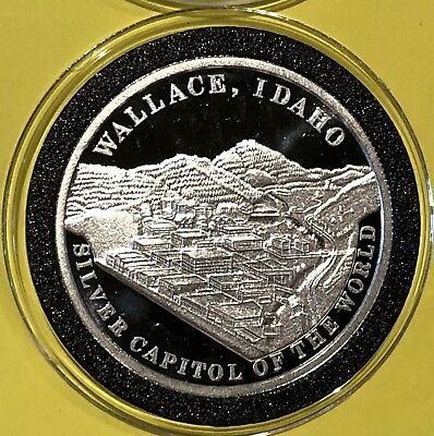 Wallace Idaho Proof Collectible Round 1 Troy Oz .999 Fine Pure Silver Coin Medal