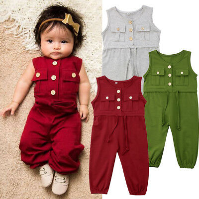 AU Toddler Kids Baby Girls Romper Jumpsuits Trousers Overalls Outfits Clothes