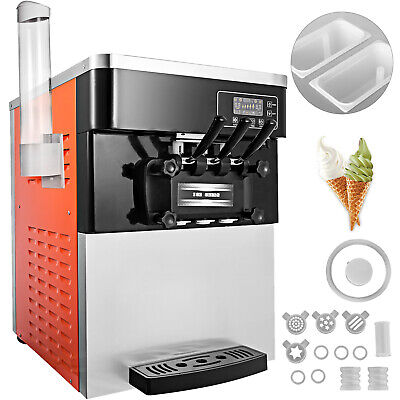 3 Flavor Soft Ice Cream Maker Frozen Yogurt Machine 28L/H LED Display