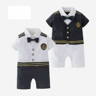8e4bd58ad BABY BOY CARNIVAL Sailor Nautical Marine Captain Costume Romper Clothes  Outfit