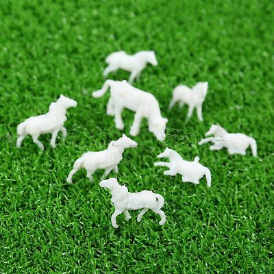 100Pcs UnPainted White Plastic Mixed Sizes Poses Farm Animals Horses Scale 1:150