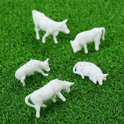 100Pcs UnPainted White Plastic Mixed Sizes Poses Farm Animals Cows Scale 1:87