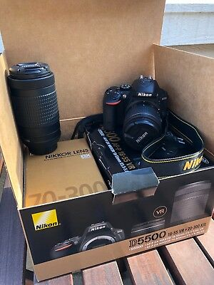 Nikon D D5500 24.2MP SLR Camera Kit - Black (w/ VR 18-55mm Lens + 70-300mm Lens)